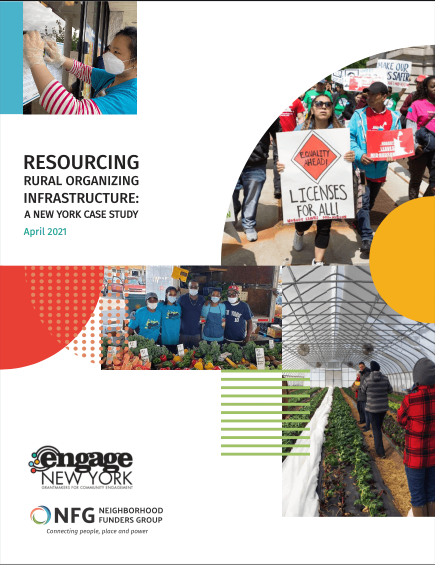 Report cover of Resourcing Rural Organizing Infrastructure: A New York Case Study — April 2021. The cover features colorful photos of people in rural communities.