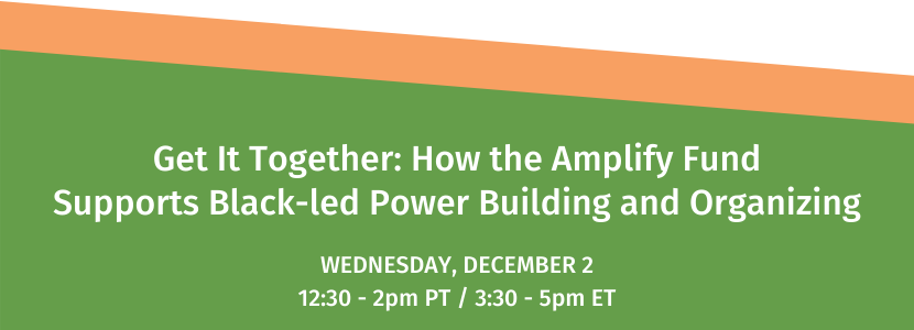 Get It Together: How the Amplify Fund Supports Black-led Power Building and Organizing. Wednesday, December 2. 12:30-2:30pm PT / 3:30-5:30pm ET.