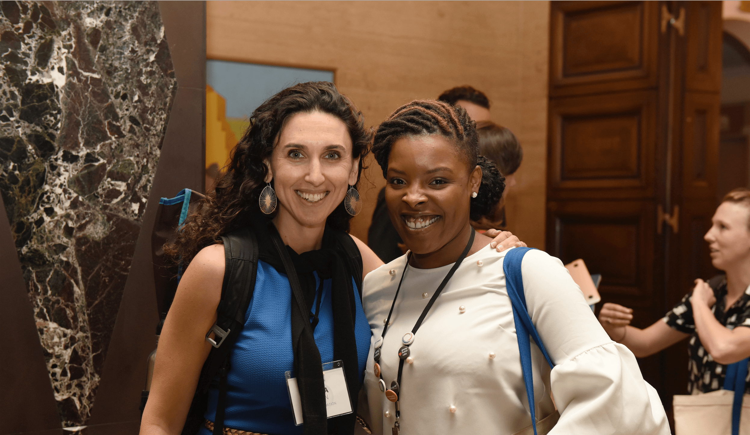 Anna Lefer Kuhn of The Arca Foundation and Taina McField, formerly of The Nathan Cummings Foundation.
