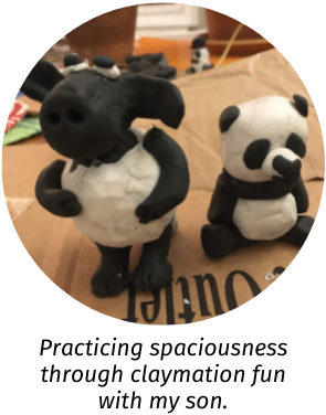 Photo of clay figurines of a sheep and a panda. Caption: Practicing spaciousness through claymation fun with my son.