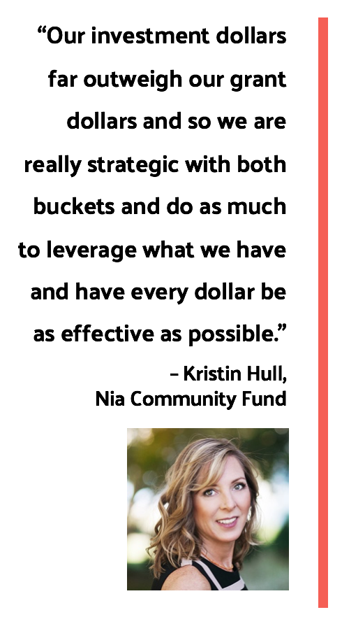 "Quote by Kristin Hull of Nia Community Fund: ""Our investment dollars far outweigh our grant dollars and so we are really strategic with both buckets and do as much to leverage what we have and have every dollar be as effective as possible."""