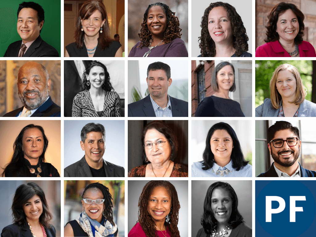 A grid featuring the faces of the 19 fellows in Philanthropy Forward's 2019-2020 cohort.