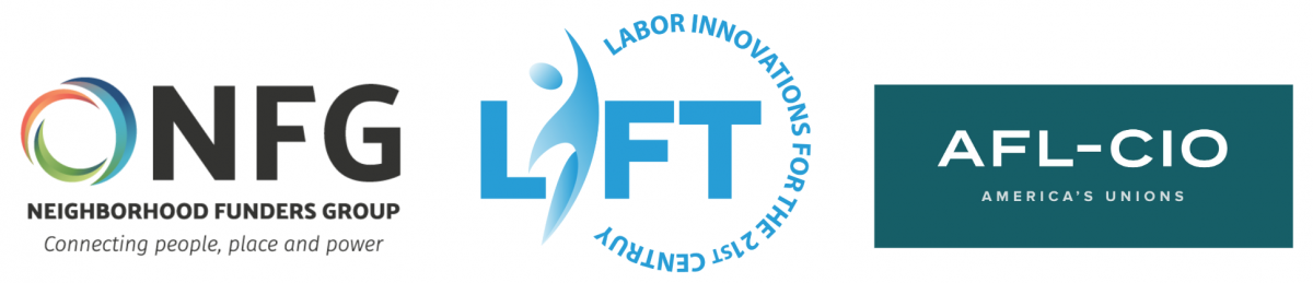 Logos of Neighborhood Funders Group, LIFT Fund, and AFL-CIO