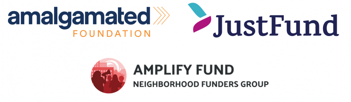 Amalgamated Foundation, JustFund, and Amplify Fund at Neighborhood Funders Group logos