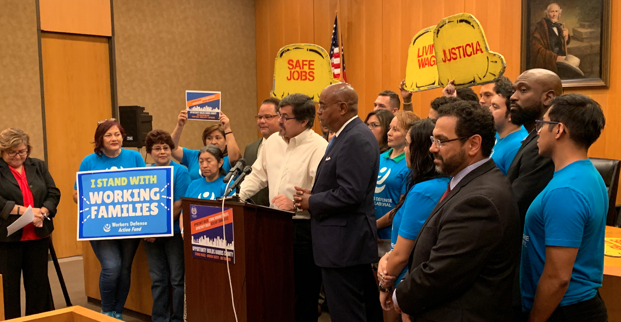 Labor and community organizers with the Build Houston Better campaign, launched after Hurricane Harvey, and  Houston Mayor Sylvester Turner announce a major legislative win to improve worker protection, wages and training access. Credit: Worker's Defense