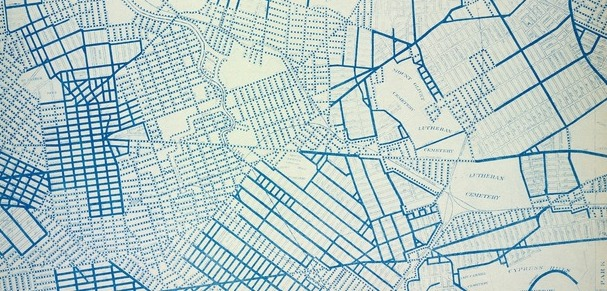 A city map with blue lines on a white background.