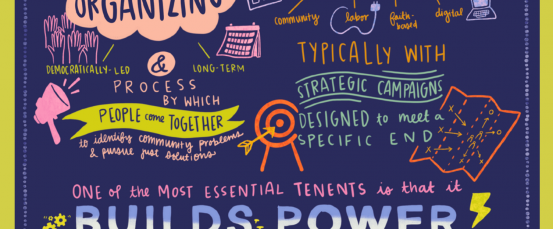 Graphic illustration summary): One of the most essential tenets of organizing is that it builds power.