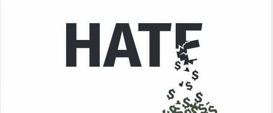 "An illustration of the word ""HATE"" crumbling into a pile of dollar signs."