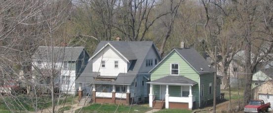 A row of houses in Flint, MI.
