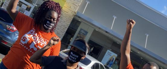 Gus and his co-workers in Lakeland, FL during the J20 Strike for Black Lives.